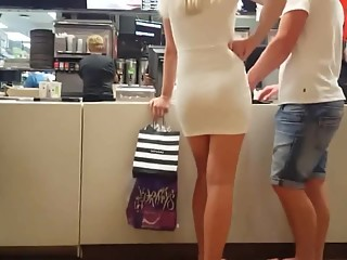 Hot sexy blonde in tight dress
