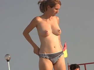 Nice tits gal at the beach